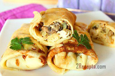 Фото рецепт Блины с курицей и грибами