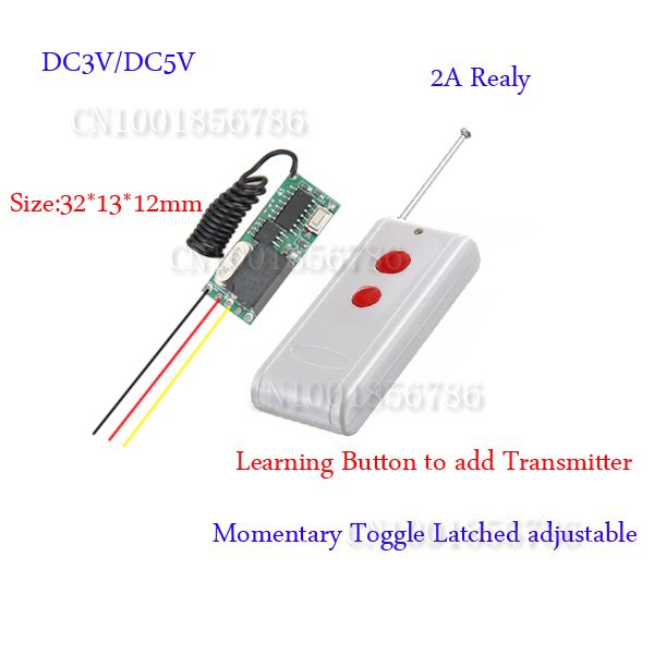 wireless remote control Remote Switch 3v 5v DC 10A Relay Receiver + Long Range Transmitter 50-1000m Power Switch 315/433 #Affiliate
