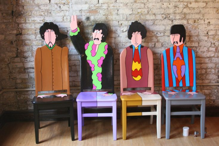 The Beatles Yellow Submarine upcycled painted chairs by Artist Todd Fendos