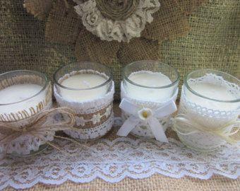 Tè di nozze vintage pizzo bianco candele di WasatchDesign su Etsy