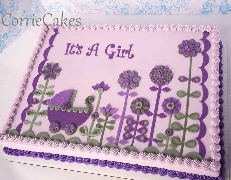 Purple Baby Shower Sheet Cake
