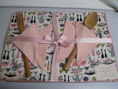 vintage 50s mcm modern kitchen print pink placemats napkins serving set nos - Kuche In Pink