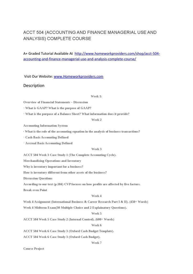 Acct  Accounting And Finance Managerial Use And Analysis