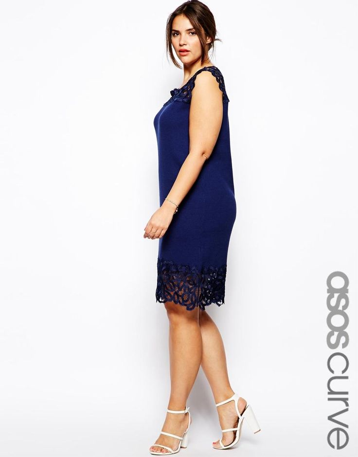 ASOS Curve   ASOS CURVE Exclusive Shift Dress With Lace Trim at ASOS