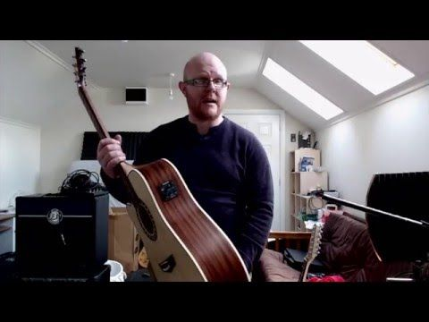 Review of Harley Benton Custom Line CLD-1048 left handed semi-acoustic guitar - YouTube