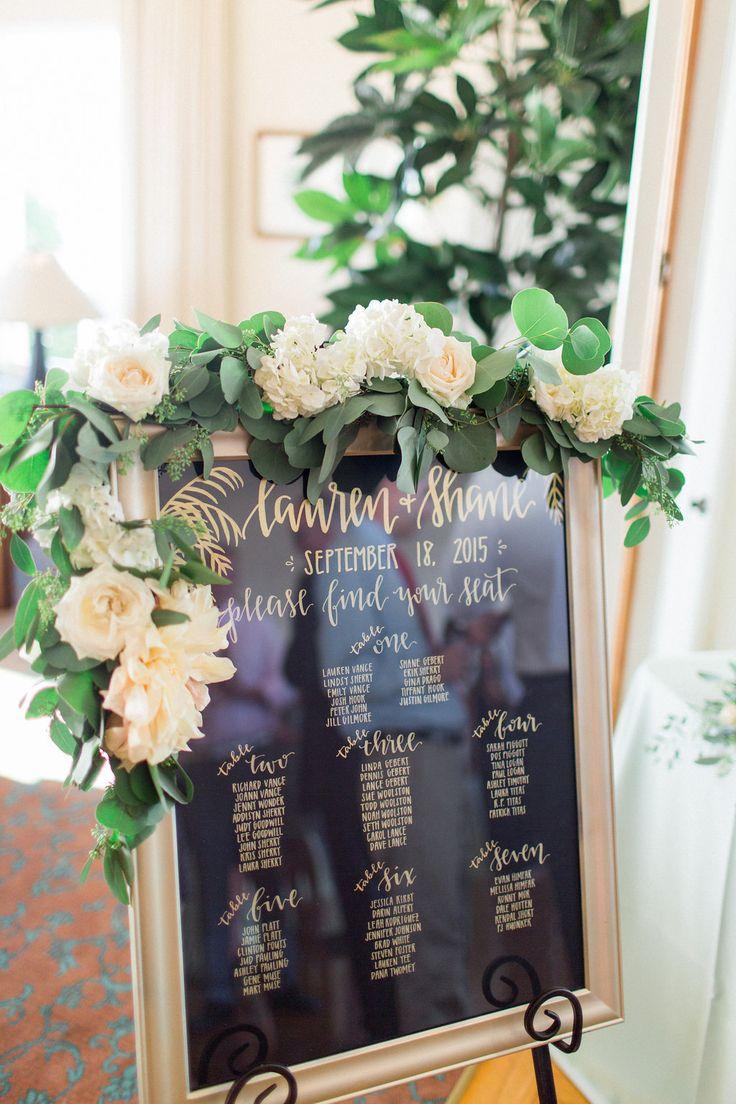 The Thursday Club Floral escort card display garland  by San Diego wedding florist, Compass Floral.