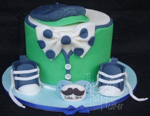 fondant cake toppers little man theme baby shower cake. Black Bedroom Furniture Sets. Home Design Ideas