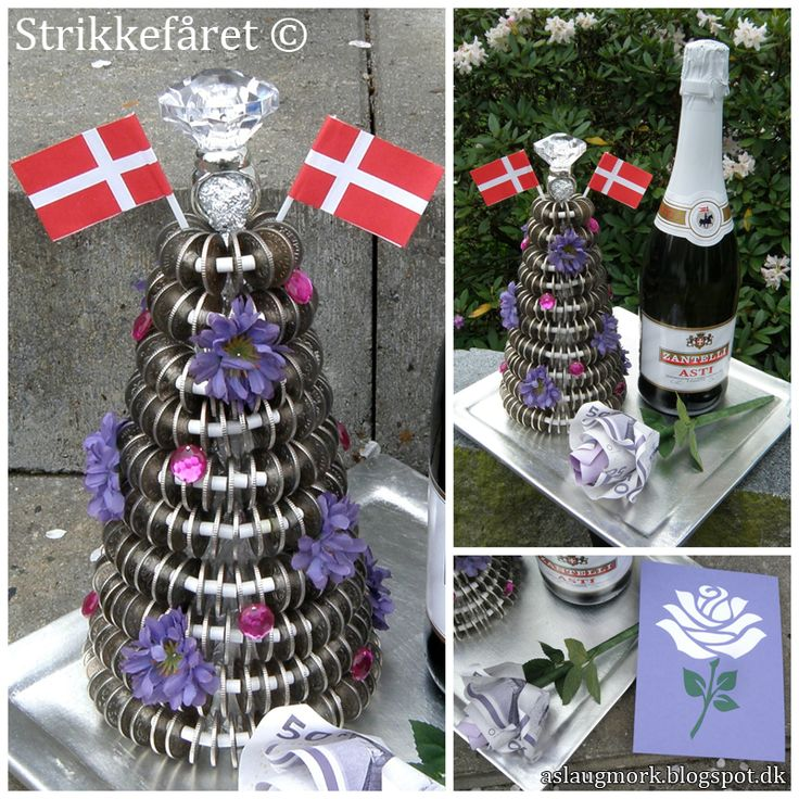 Strikkefåret blog: a kransekage made of Danish coins as a money gift