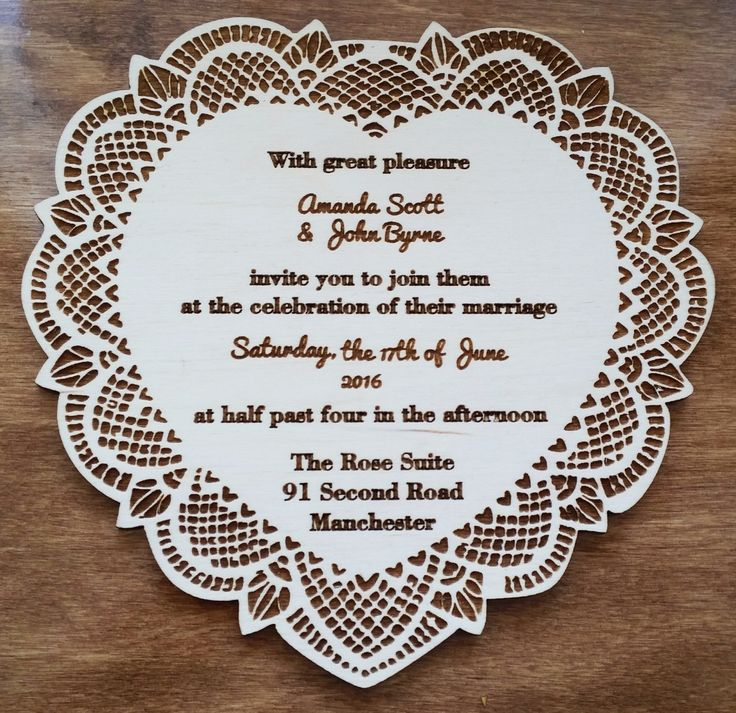 10x Laser cut wooden wedding invitations, save the date cards personalised rustic wedding lace heart + envelopes by Stylishmoments on Etsy