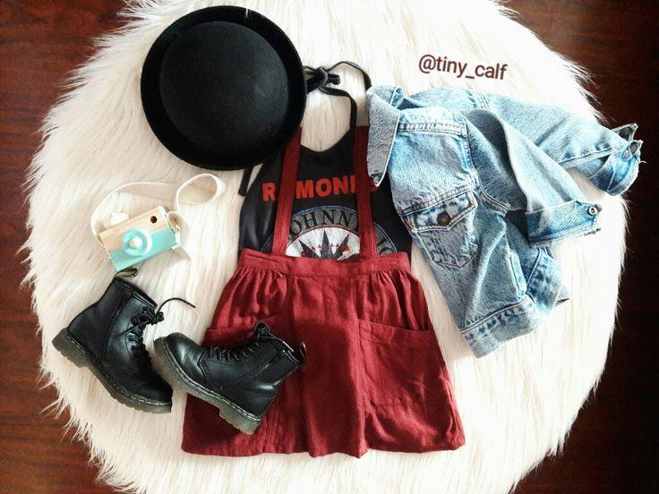 Baby/ toddler fall fashion outfits. The Ramones. Vintage Levis denim jacket. Burgundy/ wine suspender skirt. Dr. Martens. Doc Martens. Docs. Bowler hat. Hipster. Grunge. Rocker.