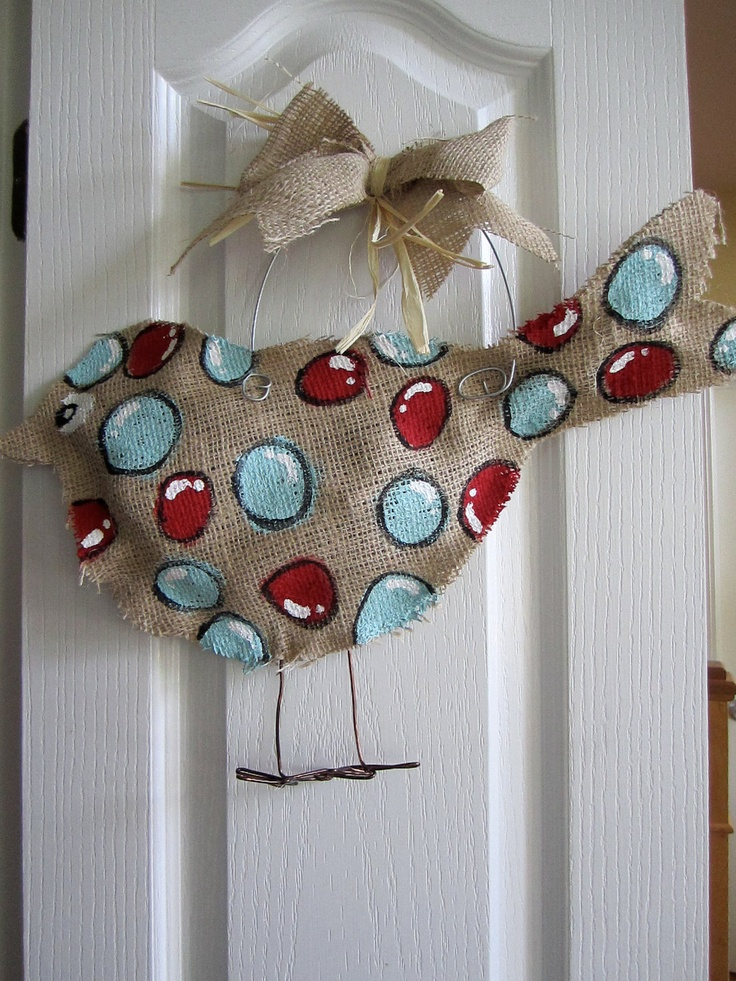 Burlap+Bird+door+Hanger+Aqua+and+Red+by+nursejeanneg+on+Etsy,+$25.00