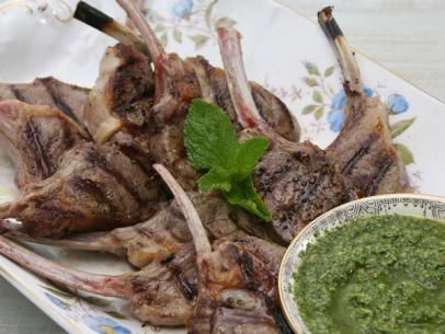 Lamb Chops with Mint Almond Pesto #Protein #MyPlate: Food Network, Almonds, Almond Pesto, Meat, Claire Robinson, Pesto Recipe, Lamb Chops, Mint Almond, Main