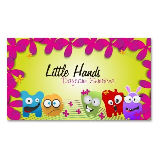 241 best childcare business cards images on pinterest business daycare business card colorful little monsters colourmoves