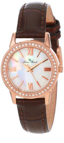 Women's Wrist Watches - Lucien Piccard Womens LP12006RG02MOP Veleta White MotherOfPearl Dial Swarovski Crystal Accents Brown Leather Watch *** You can get more details by clicking on the image.
