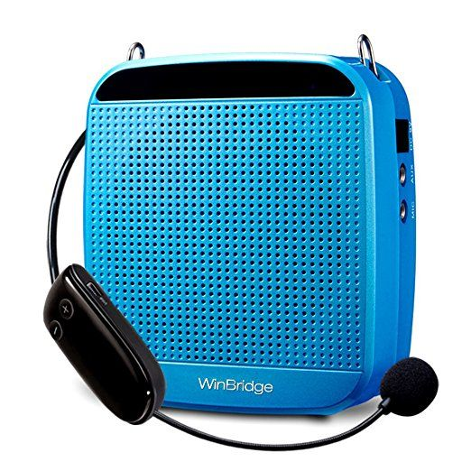 WinBridge S613 2.4G Wireless Digital Voice Amplifier with Power Supply Microphone for Special Teaching Amplifier 18W 7.4V/1200MAH High Volume Blue