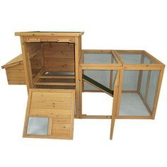"Aosom LLC Pawhut 75"" Deluxe Wooden Chicken Coop Hen House with Outdoor Run"