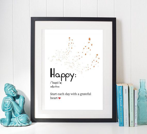 Happy Word Definition, Word Poster, Printable Quote, Motivational Quote, Inspirational Quote, SVG Print, Typography Quotes, Handwritten
