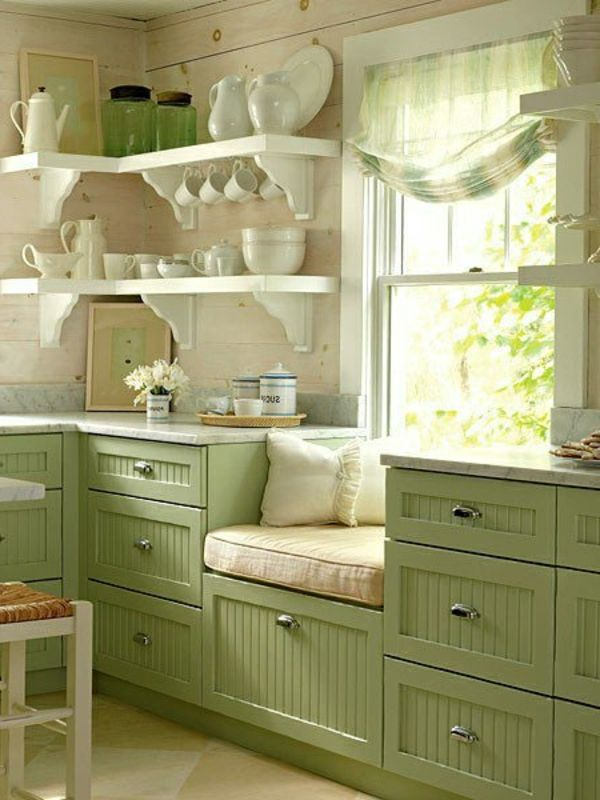 Nice Green. Also like open shelves. I had shelves like this once and liked them much better than I thought I would. I could arrange my dishes and see them all. Very cozy feeling.