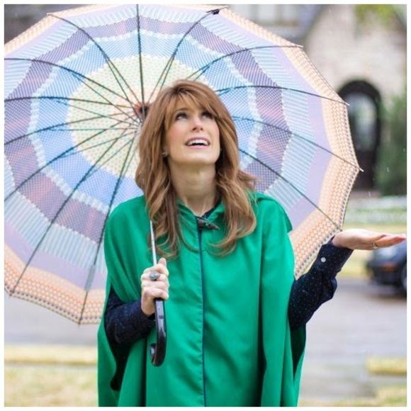 """Reign on!"" Green Raincoat cape This is the cutest raincoat cape that I own, so I just HAD to pick up an extra for you! Size s lightweight cape is perfect for looking chic while it rains on all your haterssssss  brand new with tags // vibrant green cape highlighted by royal blue piping has perfectly placed front side pockets. With this cape jacket, no umbrellas or cheap plastic ponchos are needed // only showing other colors to show more details of the overall body, style, and drape She…"