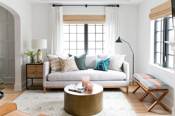 Bright, Eclectic Living Room of the Denver Tudor Project   Studio McGee