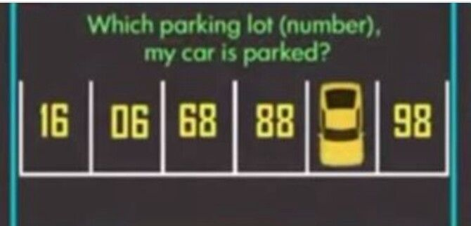 Welk cijfer staat er op de parkeerplaats waar de auto opstaat?