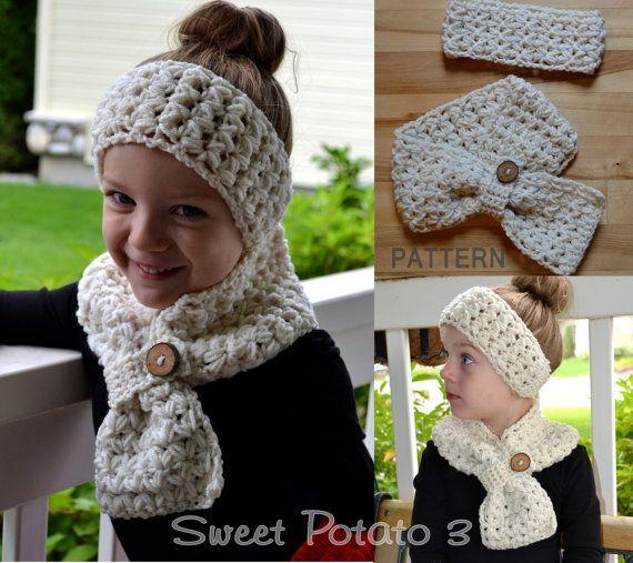 Crochet PATTERN  Scarf & Headband Set   by SweetPotato3Patterns