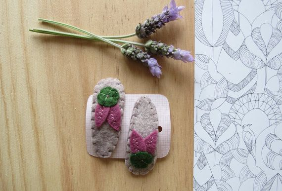 Hair Clips - Embroidered Wool Felt