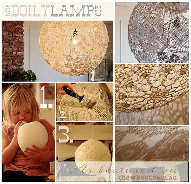"""DIY Doily lamp. Single, large 16"""" or three small 8"""" at diff heights clustered."""
