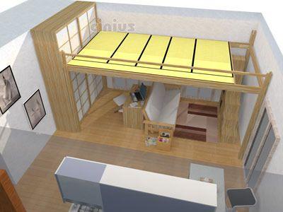 Rendering 3D di un letto a soppalco Yen