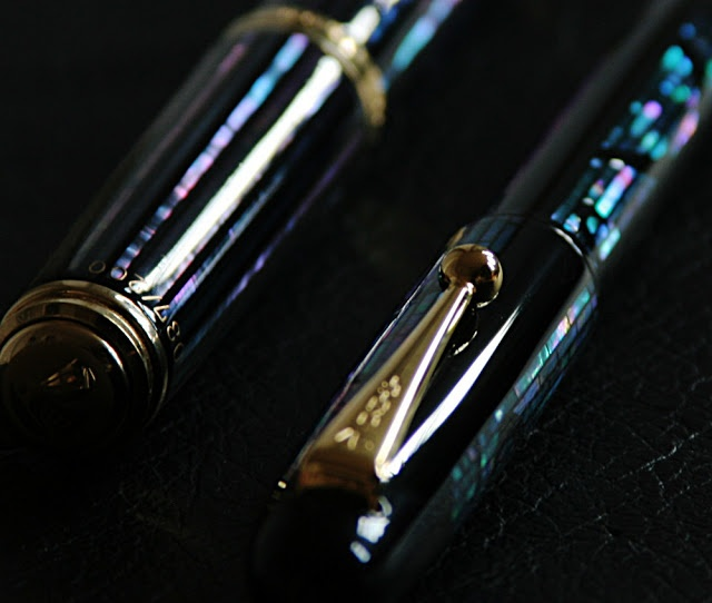 Pelikan and Namiki fountain pens with Abalone mother of pearl