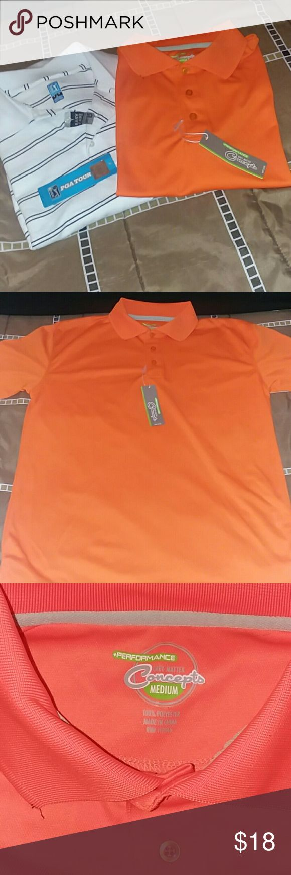 Mens bundle 2 for 1 polos NWT 2 NWT men's polo style tops. One is PGS Tour and orange is Grey Matter Concepts Shirts Polos