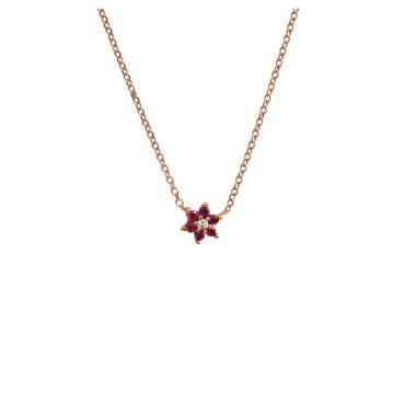 Ένα μοντέρνο κολιέ αστέρι από ροζ χρυσό Κ14 με φούξια και λευκό ζιργκόν σε γυαλιστερό φινίρισμα | Κολιέ ΤΣΑΛΔΑΡΗΣ στο Χαλάνδρι #αστέρι #φούξια #χρυσό #κολιέ