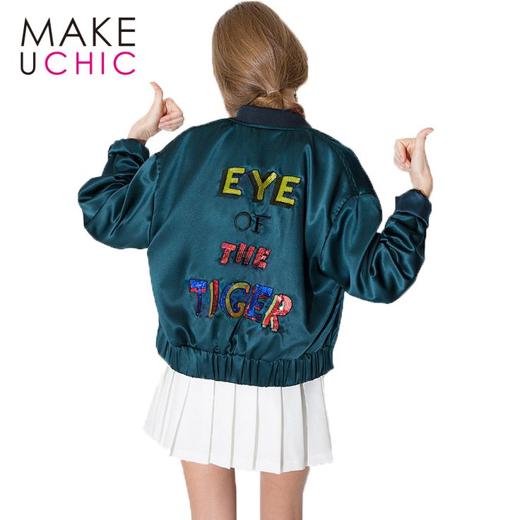 MAKEUCHIC Apparel Basic Jacket Women Letter Embroidery Sequin Female Bomber Jacket Casual Streetwear Jacket Coat For Ladies #Affiliate