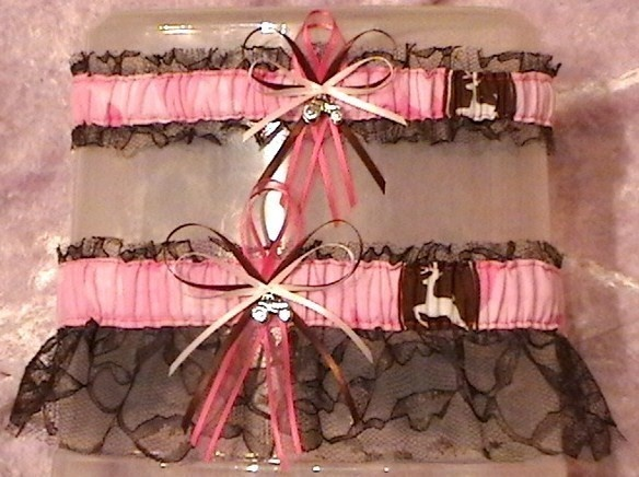 John Deere Pink and Brown Lace Wedding Garter Set by narfer99, $23.00