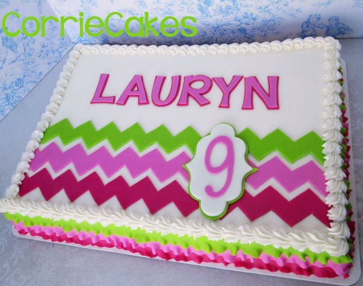 Chevron Sheet cake by CorrieCakes, great colors!
