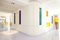 """Hands up for colour!  An intriguing mix of chillness and rebellion, focused on colour, shape and space.  Storage area in """"Jiului Apartament"""" by Hamid Nicola Katrib"""