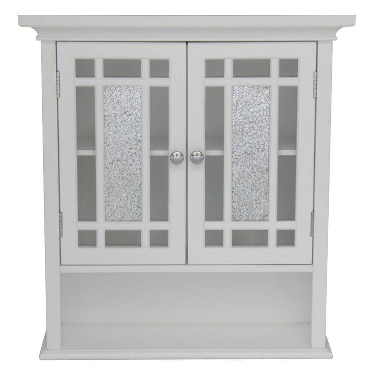 Elegant Home Windsor White Bathroom Wall Cabinet With 2 Doors And 1 Shelf Elg