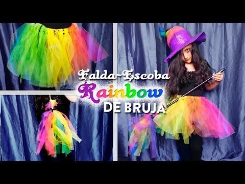 Serie DIY Falda y escoba de bruja arcoiris | DIY rainbow witch tutu and broom- DREEN - YouTube