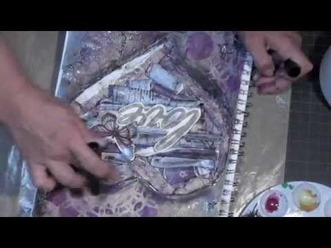 Friday Mixed Media Art Journal - Gelatos,Lindy's Stamp Gang Sprays & Golden Paints