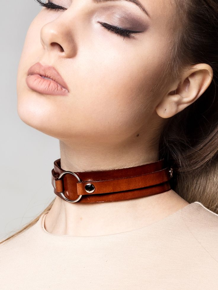 Black Leather Choker with Metal Ring
