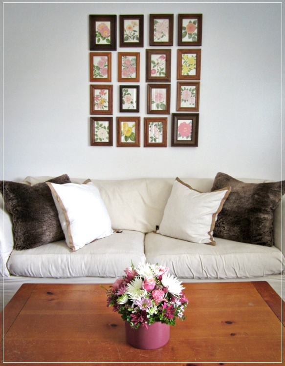 another version of a gallery wall using prints and mismatched frames
