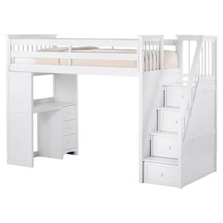 Shop for NE Kids School House Stair Loft with Desk End and Full Lower Bed White. Get free delivery at Overstock.com - Your Online Furniture Outlet Store! Get 5% in rewards with Club O!
