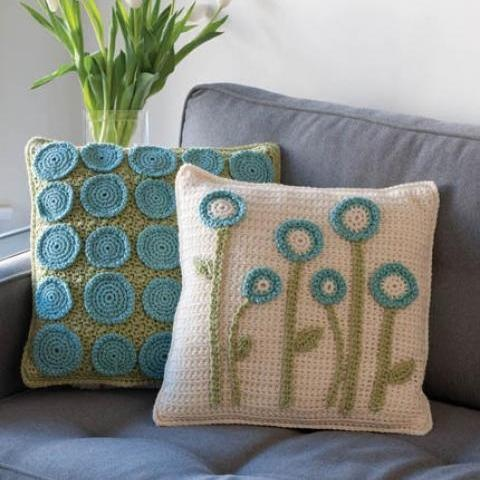 This pattern was in Crochet Today a year ago and I love it for being so different. You could appliqué your pillows like this with a multitude of designs!