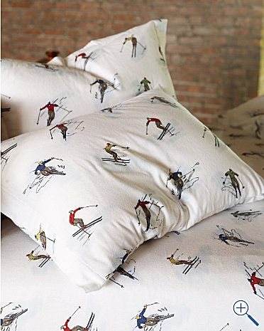 skier sheets from garnet hill for the mountain ski home pinterest grey fabrics and so cute. Black Bedroom Furniture Sets. Home Design Ideas