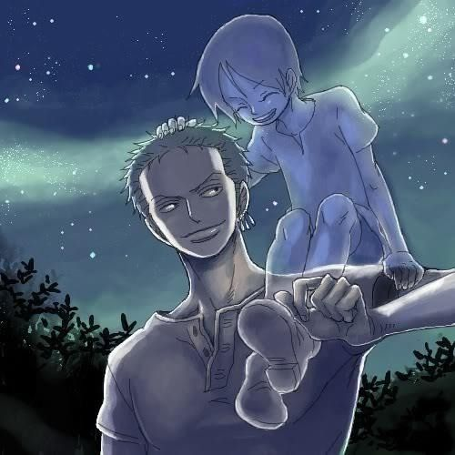 Zoro and Kuina - love that pic <3-that's sad and cute and happy al at once it's funny how's she's older then him but now he's grown older then her I mean that's how it works when you die you stop growing I'm going to shut up now
