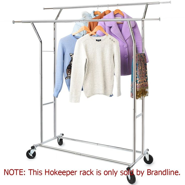 330 Lbs Load Capacity Commercial Grade Clothing Garment Racks Heavy Duty Double Rails Adjustable Collapsible Rolling Clothes Rack, Chrome Finish
