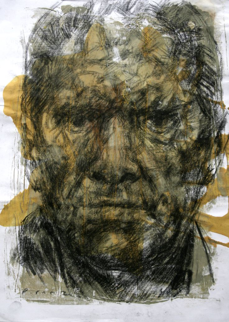 artwork by Ali pirooz . Mix media on paper. 29.5 x 42 cm.2011 _ Drawing Portrait , oil and conte charcoal