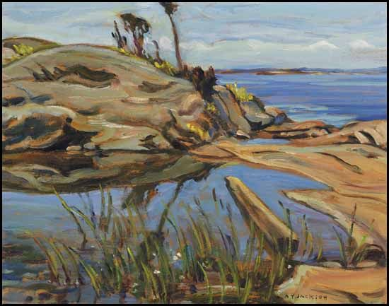 """Lagoon on Jackman's Island,"" Alexander Young (A.Y.) Jackson, oil on board, 10 1/2 x 13 1/2"", private collection."
