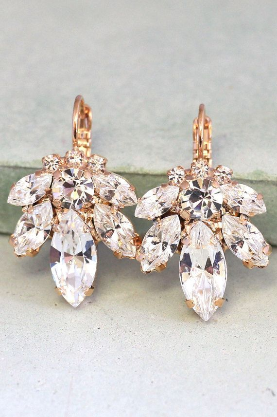 Bridal Earrings,Bridal drop earrings,Crystal drop earrings,Swarovski crystal drop earrings,Rose gold earrings,Bridal Diamond droplets Swarovski Crystal