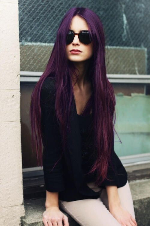 Dark Purple dyed hair. <3 it. If I was crazy enough to do it this is exactly what I'd want